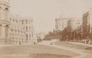 Tourists Pointing At Architecture Windsor Castle Antique Real Photo Postcard