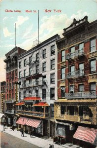 China Town, Mott Street, Manhattan, New York City, Early Postcard, Used in 1908