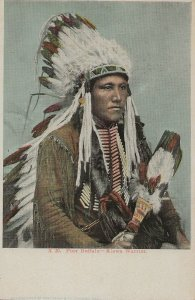 H-045  A Western Indian Chief UDB Real Color Picture Postcard