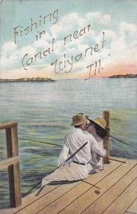 Lovers fishing in Canel near,  Illinois, PU-00-10s