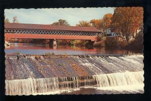 West Swanzey, New Hampshire/NH Postcard, Covered Bridge Over Ashuelot River