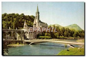 Modern Postcard Lourdes Basilica and the Gave new bridges