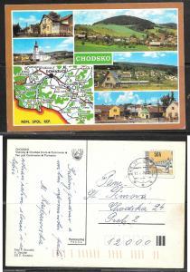 Czechoslovakia, Chodsko, map, mailed