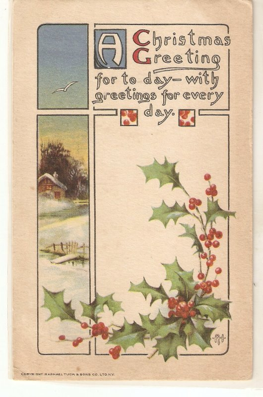 Landscape Holly. Christmas Message  Tuck Christmas Greetings  Ser. PC # 552