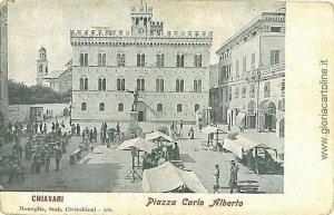 09060  CARTOLINA d'Epoca GENOVA - CHIAVARI: PIAZZA C. ALBERTO