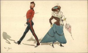 Phil May Soldier Embarrassed Steps Woman's Dress Military Humor TUCK Postcard