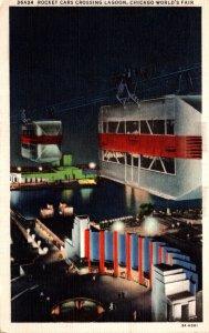 Illinois Chicago World's Fair Rocket Cars Crossing Lagoon 1934 Curteich