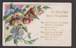 Birthday Greetings Embossed Flowers - Used 1909 - Slight Wear