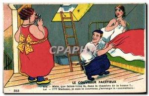 Old Postcard Fantasy roofer facetious