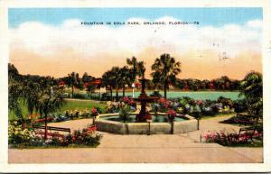 Florida Orlando Fountain In Eola Park 1937