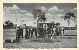 Camp Devens~Drafted Men Await Physical Exam~Line at Army Red Cross Truck~1917