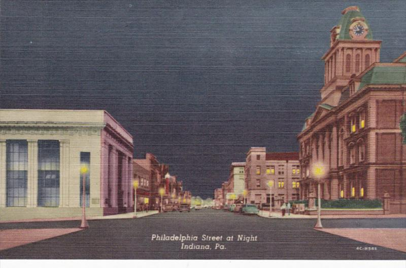 INDIANA, Pennsylvania, 1930-1940's; Philadelphia Street At Night, Classic Cars