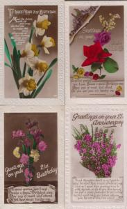 The Language Of Flowers Rocket Rivalry Antique Postcard
