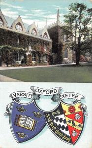 Oxford University~Exeter Coat of Arms~Varsity Banner~Heraldic Series~1905 PC