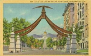 Eagle Gate looking towards State Capitol, Salt Lake City,...