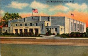 Vintage Postcard Naval Reserve armory Belle Isle Bridge Detroit Michigan 202