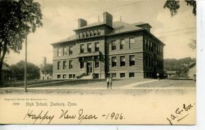 DANBURY CONNECTICUT HIGH SCHOOL ROTOGRAPH POSTCARD 1906 CT.