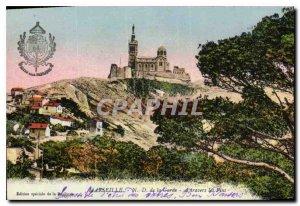 Old Postcard Marseille N D of the Guard through Pins