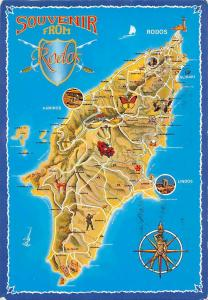 Souvenir from Rodos Island Landkarte, Descriptive map of Rhodes