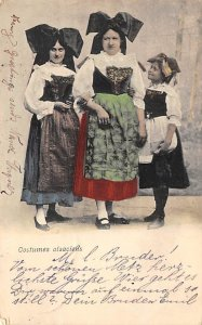 Girls with Large Bows on Their Heads German Native Costume 1904
