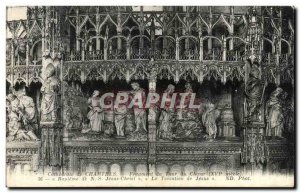 Old Postcard Cathedral Chartres Fragment Of Tower Choir Baptism of Jesus Chri...