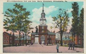 PHILADELPHIA, Pennsylvania, 1910-20s; Independence Hall & Com. Barry Monument