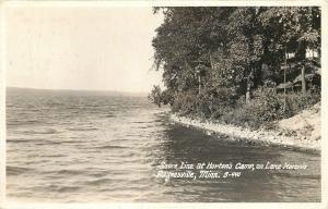 Paynesville Minnesota~Lake Koronis~Rocky Shore Line at Horton's Camp~1933 RPPC