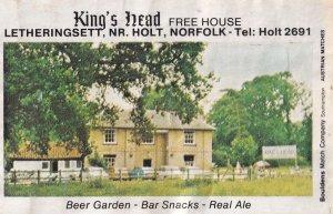 The Kings Head Pub Holt Letheringsett Norwich Norfolk Old Matchbox Label