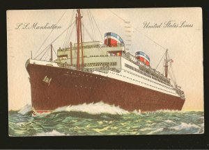 SS Manhattan United States Lines Color Postcard Posted 1944 Des Moines Iowa