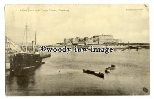 tq2709 - Guernsey - Early View across Albert Dock & Castle Cornet - Postcard