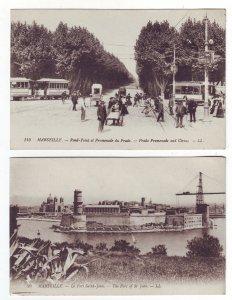 P1388 2 old unused postcard marseille views pople trollies fort st jean france
