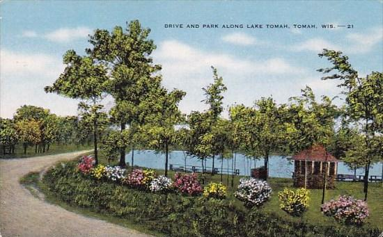 Drive And Park Along Lake Tomah Wisconsin