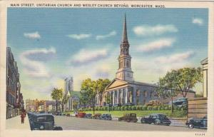 Massachusetts Worcester Main Street Showing Unitarian and Wesley Church