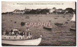 Old Postcard Arcachon View Boulevard Promenade and Boat Basin