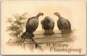 Vintage THANKSGIVING Greetings Postcard Turkeys on Roof - HAND-COLORED 1910