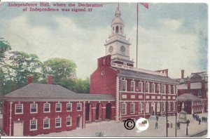 Independence Hall, Where the Declaration of Independence was signed, Postcard