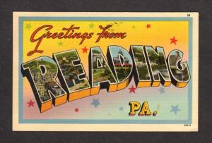 PA Greetings From Reading Pennsylvania Large Letter Postcard Linen PC