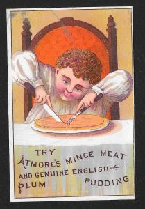 VICTORIAN TRADE CARD Atmore's Mince Meat & English Pudding