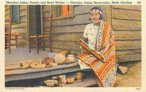 American Native Cherokee Indian Pottery and Bead Worker North Carolina