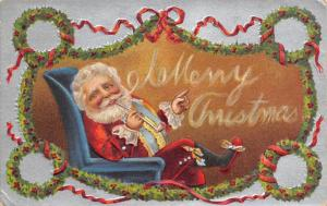 Christmas~Santa Relaxes in Arm Chair~Smokes Pipe~Slippers~Wreaths~Silver Back