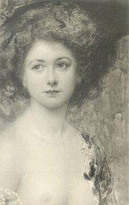 Carte postale Glamorous elegant lady fancy dress retro hairstyle coiffure mode