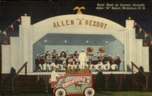 Wolfeboro NH Allen A Resort Band Shell Nice Linen Postcard