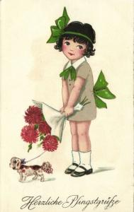Happy Easter, Sweet Young Girl with Dog and Flowers (1931)