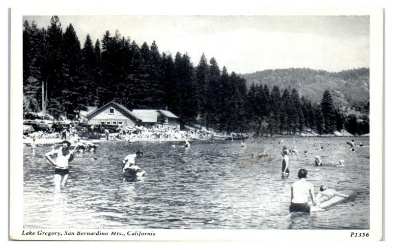 Families Swimming at Lake Gregory, San Bernardino Mountains, CA Postcard