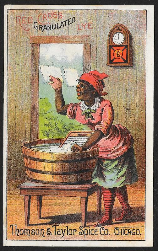 VICTORIAN TRADE CARD Red Cross Granulated Lye Black Woman Doing Washing