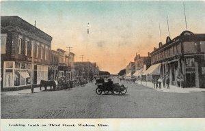 H11/ Wadena Minnesota Postcard c1910 Third Street South Stores Automobile