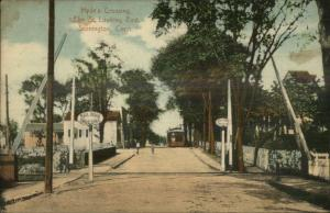 Stonington CT Hyde's Railroad RR Crossing Elm St. c1910 Postcard