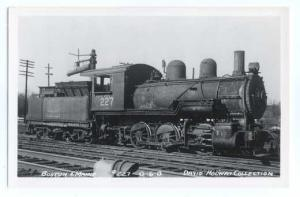 RPPC Boston & Maine #227 0-6-0 Steam Locomotive, Kodak Paper Real Photo.