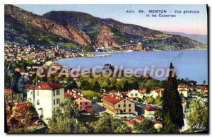Old Postcard Menton General view and Barracks