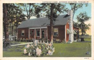 Fairview Kentucky~Jefferson Davis Park~Caretaker's Home~Custodian~1929 Postcard